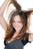 Retrato de la muchacha juguetona sonriente fotos de archivo libres de regalías