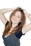 Retrato de la muchacha juguetona sonriente imágenes de archivo libres de regalías