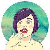 Retrato de la muchacha pasmada joven con el finger a su boca Fotografía de archivo libre de regalías