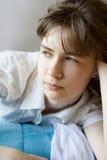 Retrato de la muchacha pensativa Imágenes de archivo libres de regalías