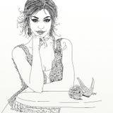Retrato de la muchacha profundamente en pensamiento stock de ilustración