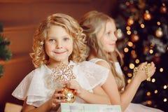 Retrato de la muchacha que sostiene el regalo del Año Nuevo el fondo es hermana y árbol de navidad imagenes de archivo