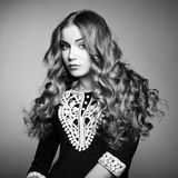 Retrato de la muchacha rubia joven hermosa en vestido negro foto de archivo
