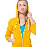 Retrato de la muchacha seria del adolescente en suéter Fotos de archivo