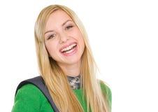 Retrato de la muchacha sonriente del estudiante con la mochila Fotografía de archivo libre de regalías