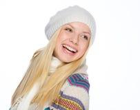 Retrato de la muchacha sonriente que mira en espacio de la copia Fotos de archivo libres de regalías