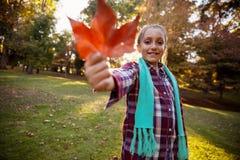 Retrato de la muchacha sonriente que muestra la hoja del otoño en el parque Imagen de archivo libre de regalías