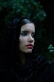 Retrato de la muchacha triste hermosa al aire libre en día de verano oscuro Imágenes de archivo libres de regalías