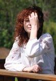 Retrato de la muchacha ucraniana en día ventoso Imagen de archivo libre de regalías