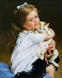 Retrato de la muchacha y de un gato Foto de archivo libre de regalías