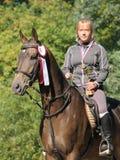 Retrato de la muchacha y del caballo Imagenes de archivo