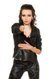 Retrato de la mujer apasionada en ropa negra Imagenes de archivo