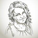 Retrato de la mujer apuesta delicada, vector blanco y negro stock de ilustración
