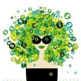 Retrato de la mujer con el peinado de las muestras de dólar Foto de archivo libre de regalías