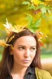Retrato de la mujer con las hojas en su situación del pelo Imagen de archivo