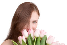 Retrato de la mujer con los tulipanes Fotografía de archivo