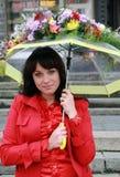 Retrato de la mujer con un paraguas Imágenes de archivo libres de regalías