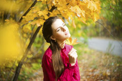 Retrato de la mujer de la belleza del otoño foto de archivo libre de regalías