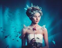 Retrato de la mujer de la fantasía de la belleza del invierno foto de archivo