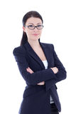 Retrato de la mujer de negocios atractiva joven aislada en blanco Fotografía de archivo