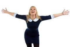 Retrato de la mujer de negocios de abrazo feliz fotos de archivo