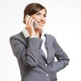Retrato de la mujer de negocios en blanco Imagenes de archivo