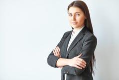 Retrato de la mujer de negocios hermosa foto de archivo