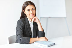 Retrato de la mujer de negocios hermosa en la oficina foto de archivo libre de regalías