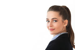 Retrato de la mujer de negocios hermosa joven en el fondo blanco Imagen de archivo libre de regalías