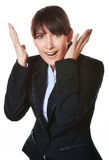 Retrato de la mujer de negocios joven del pánico Fotos de archivo