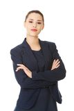 Retrato de la mujer de negocios joven feliz Imágenes de archivo libres de regalías