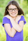 Retrato de la mujer de risa joven Foto de archivo libre de regalías