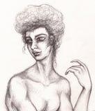 Retrato de la mujer del carbón de leña en estilo del vintage Cara de la muchacha de la moda del dibujo de lápiz Foto de archivo libre de regalías