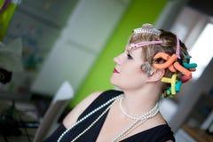 Retrato de la mujer del estilo de la vendimia Imagen de archivo libre de regalías