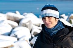 Retrato de la mujer del invierno Imagenes de archivo