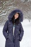 Retrato de la mujer del invierno Imágenes de archivo libres de regalías