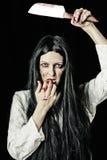 Retrato de la mujer del zombi Foto de archivo libre de regalías
