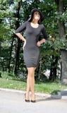 Retrato de la mujer elegante en un vestido negro Foto de archivo libre de regalías