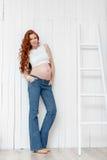Retrato de la mujer embarazada joven Foto de archivo