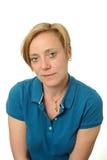 Retrato de la mujer en tapa azul Imágenes de archivo libres de regalías