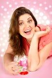 Retrato de la mujer feliz foto de archivo