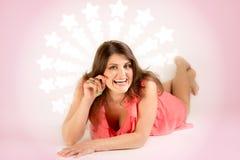 Retrato de la mujer feliz Fotos de archivo libres de regalías
