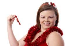 Retrato de la mujer feliz en la Navidad fotos de archivo libres de regalías