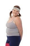 Retrato de la mujer feliz gorda Fotografía de archivo