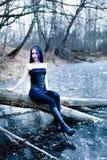 Retrato de la mujer gótica en el lago congelado Fotografía de archivo libre de regalías
