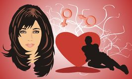 Retrato de la mujer hermosa stock de ilustración