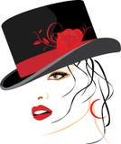 Retrato de la mujer hermosa en un sombrero elegante stock de ilustración