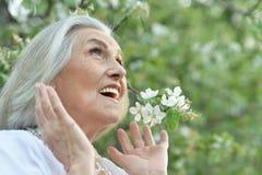 Retrato de la mujer hermosa mayor feliz en parque de la primavera fotografía de archivo