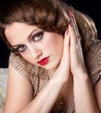 Retrato de la mujer joven con los ojos grandes Imagenes de archivo