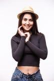 Retrato de la mujer joven de la moda en sombrero enrrollado Fotos de archivo libres de regalías